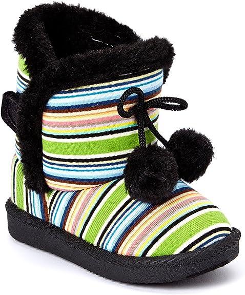 Black Zipper Open Faux Fur Booties Toddlers Kids Girls Winter Boots Shoes