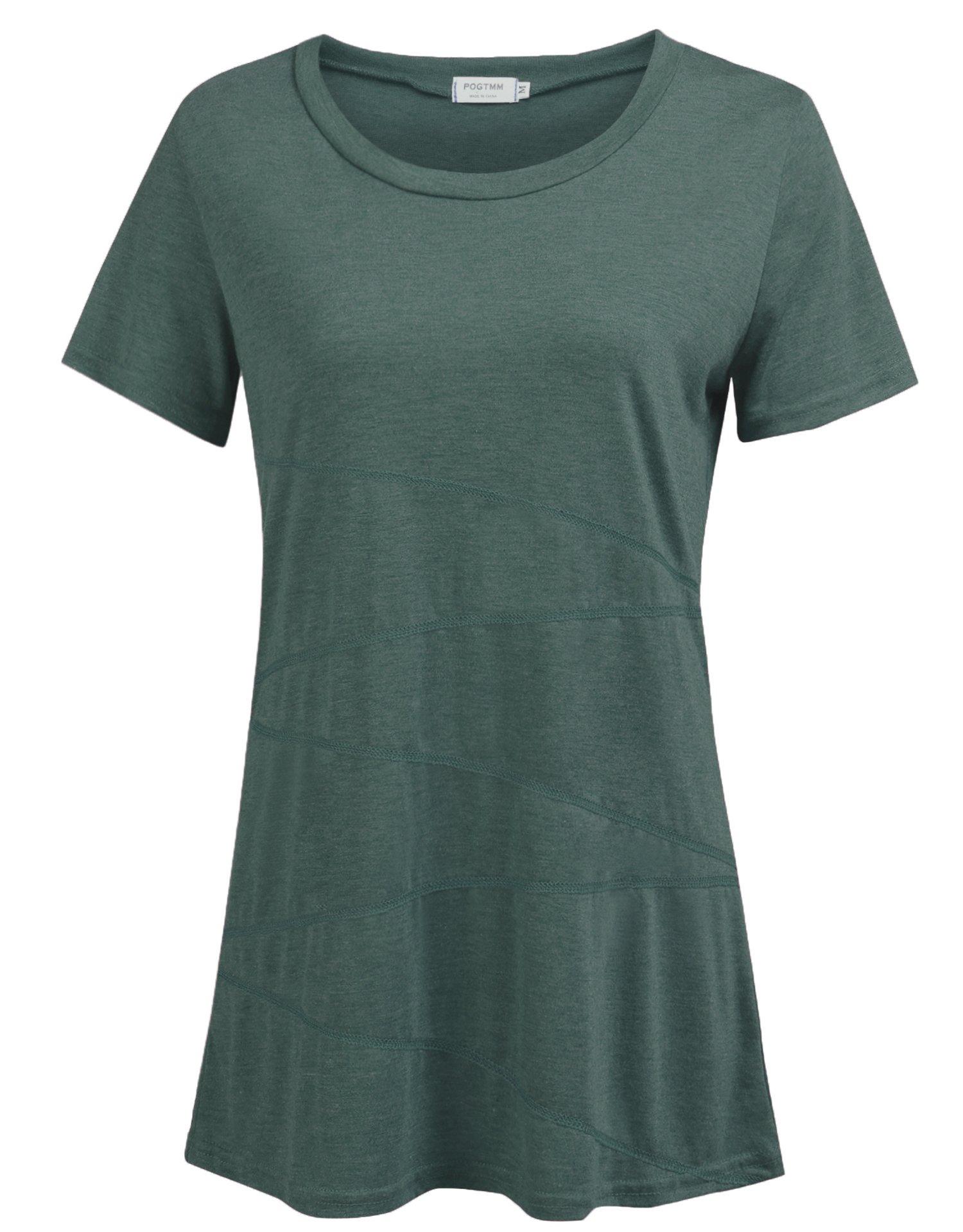 POGTMM Women's Casual Loose Short Sleeve Shirts Yoga Tops Activewear Running Workout T-Shirt Blouse (Green, US L(12-14))