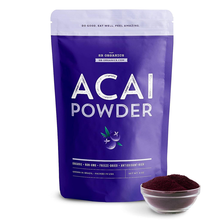 SB Organics Acai Powder - 4 oz Bag of Organic Non-GMO Vegan Freeze-Dried Acai Berry Powder from Brazil - Free of Gluten, Dairy, and Soy