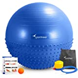Sportneer Yoga Excercise Balance Ball Anti-burst Dual-sided with Foot Inflation Pump,Massage Ball,Workout Guide and Carrying Bag