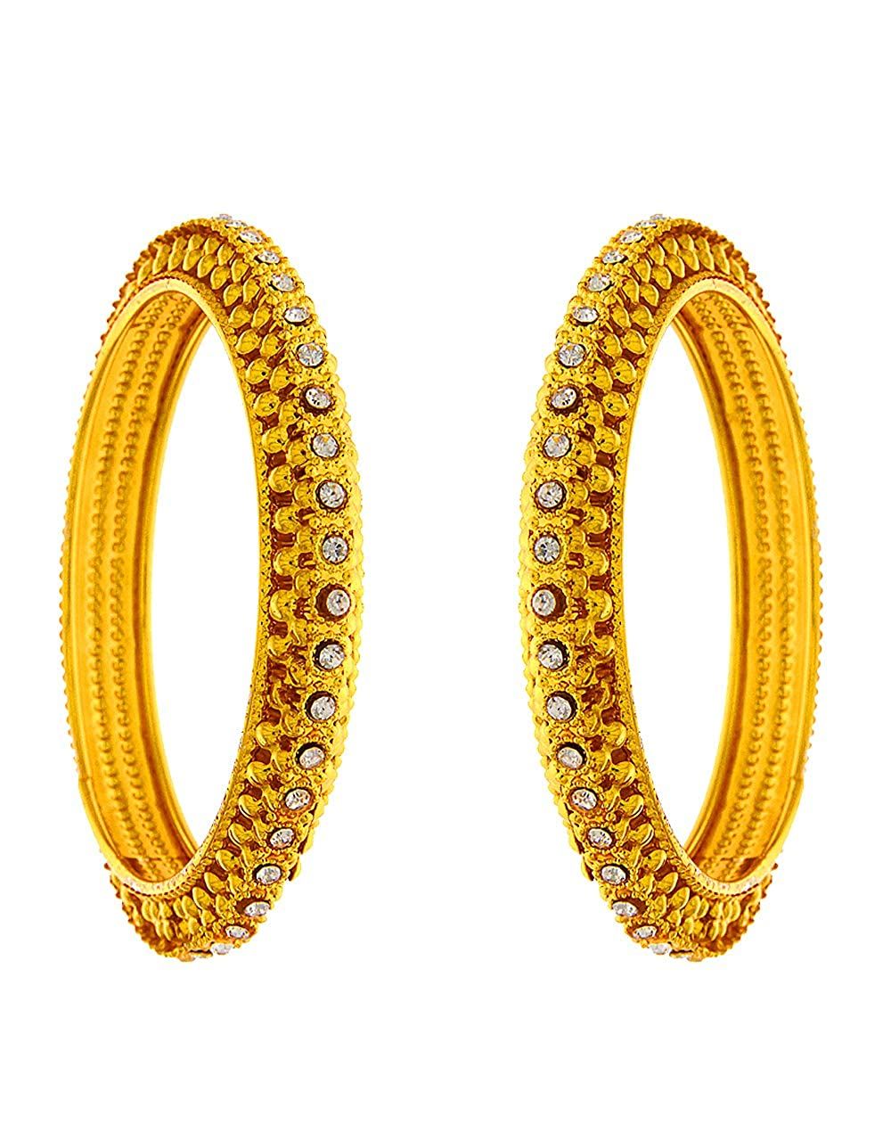 Anuradha Art Golden Colour Styled with Studded Sparkling Stone Traditional Bangles Set for Women//Girls