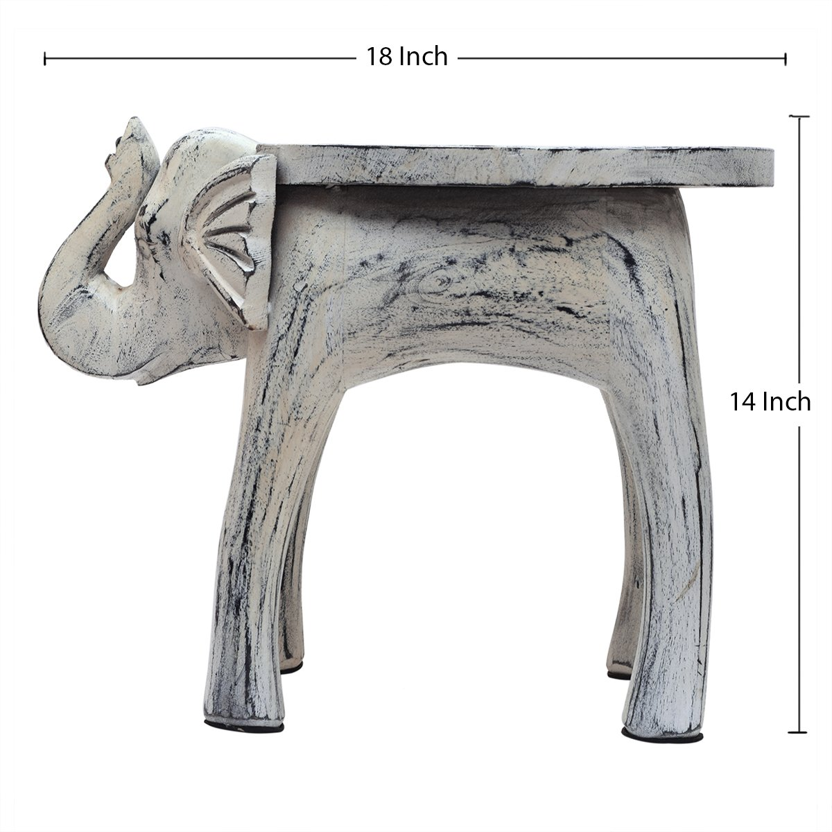 Wooden Side Table End Table Round Bedside Sofa Stool White Distressed Finish Elephant Head Design Home Kids Room Furniture Shabby Chic Decor - 18 x 13 x 14 inches by Store Indya (Image #6)