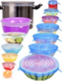 [14pcs] longzon Silicone Stretch Lids (Include 2 Exclusive XXL Size up to 12''), Reusable Durable Food Storage Covers…