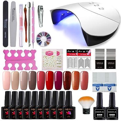 Coscelia 36W Secador de Uñas UV/LED Lámpara 10 Piesas Esmalte Semipermanente Gel Uñas Top