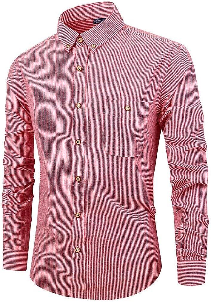 Comaba Men T-Shirts Striped Casual Loose Long Sleeve Premium Dress Shirt
