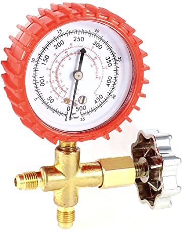 uxcell Air Conditioner Round Single Manifold Pressure Gauge Tool 11mm Thread