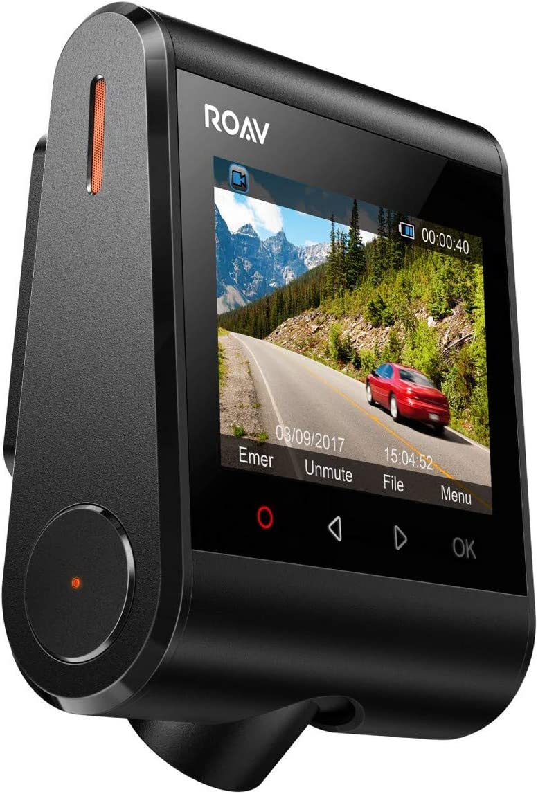 ROAV DashCam C1, by Anker, Car Recorder with Sony Sensor, 1080P FHD, 4-Lane Wide-Angle View Lens, Built-in WiFi with APP, G-Sens