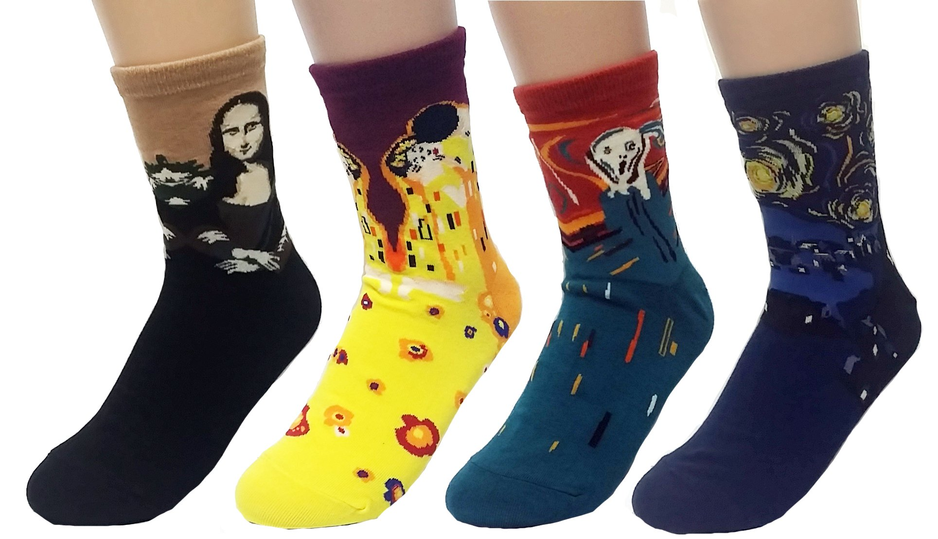 JJMax Women's Art Masterpiece Painting Collection Socks Set, 4 Pair Collection ,One Size
