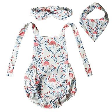 0e6b9cb5530f KIDSA 0-24M Newborn Toddler Baby Girl Clothes Flamingo Floral Halter  Backless Romper + Baby