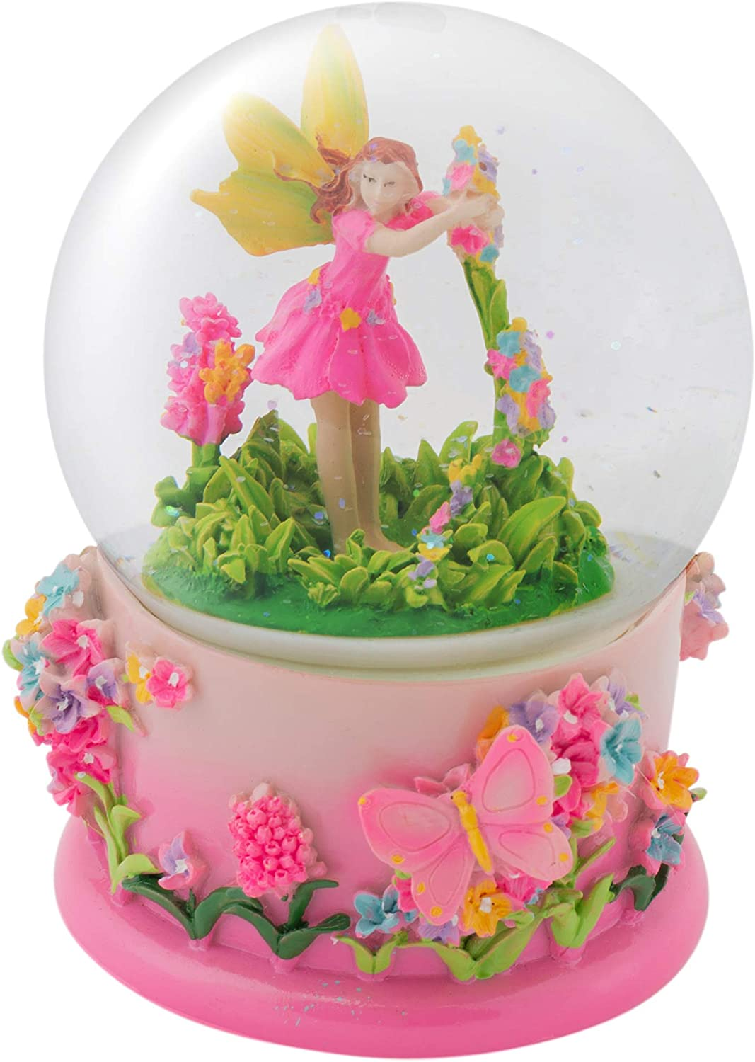 Elanze Designs Magical Fairy in Rotating Garden 100MM Musical Water Globe Plays Tune Beautiful Dreamer