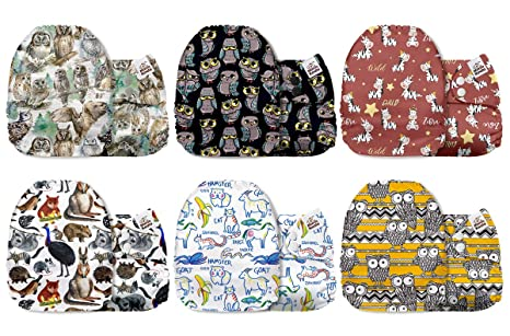 6 Pack with 6 One Size Microfiber Inserts Mama Koala One Size Baby Washable Reusable Pocket Cloth Diapers Wild Giant