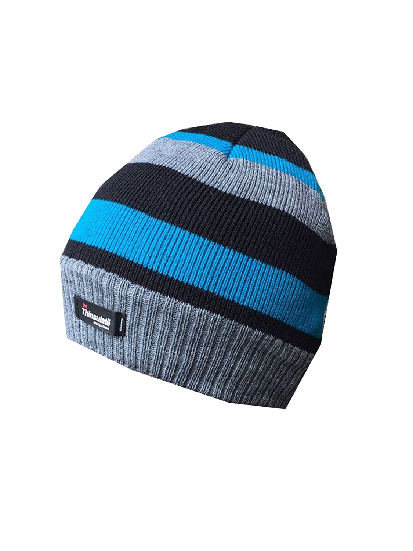 RockJock Boys Striped Thinsulate Thermal Beanie Fleece Lined Winter Hats Warm Fashion