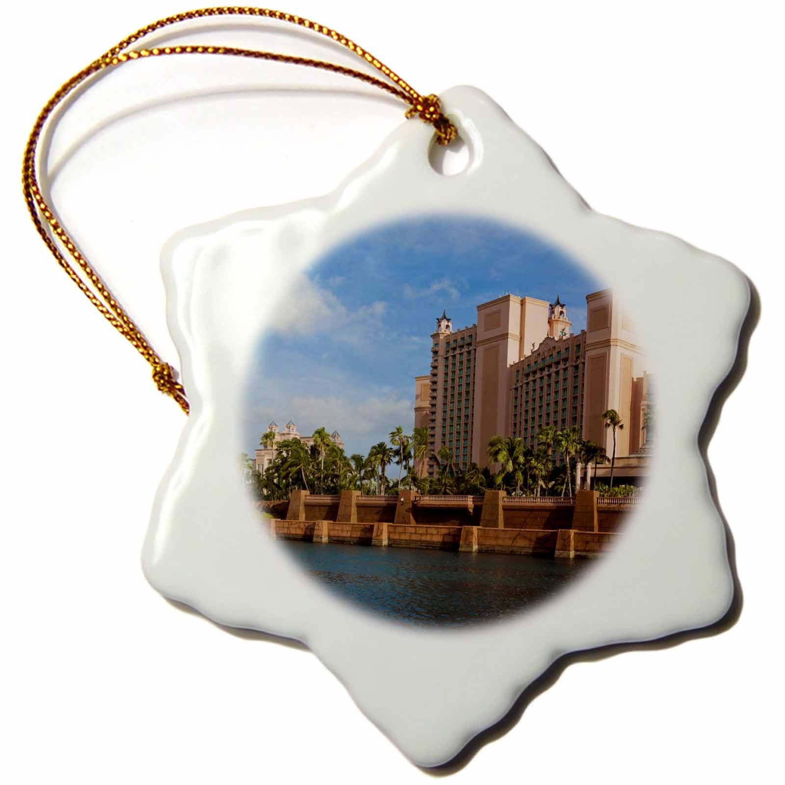 3dRose orn_134136_1 Bahamas, New Providence Island, Atlantis Hotel Ca05 Wbi0502 Walter Bibikow Snowflake Ornament, Porcelain, 3-Inch