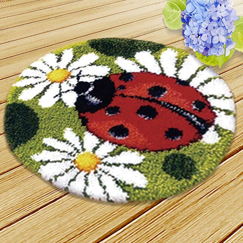 Latch Hook Kit DIY Rug Carpet Handcraft Cushion Embroidery Set Crocheting for Kids /& Adults Animal Pattern Black cat, 20x20 inch