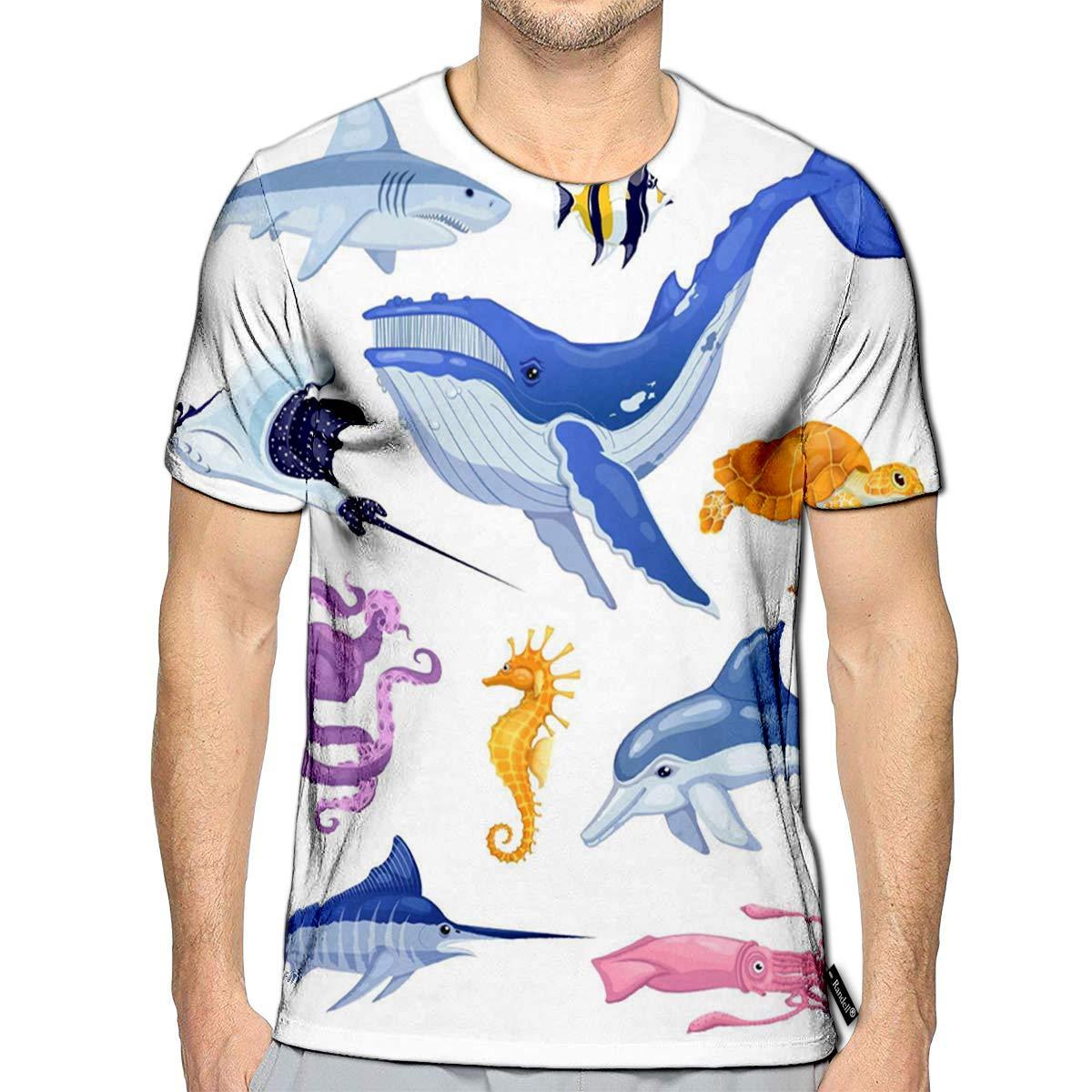 3D Printed T-Shirts Sea and Ocean Animals Set Cartoon Marine Fish Cute Colorful