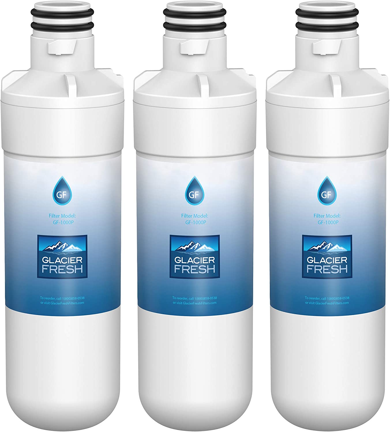 GLACIER FRESH LT1000P Refrigerator Water Filter Compatible with LG LT1000P, LT1000P, LT1000PC, MDJ64844601, 9980 Water Filter, 3 Pack