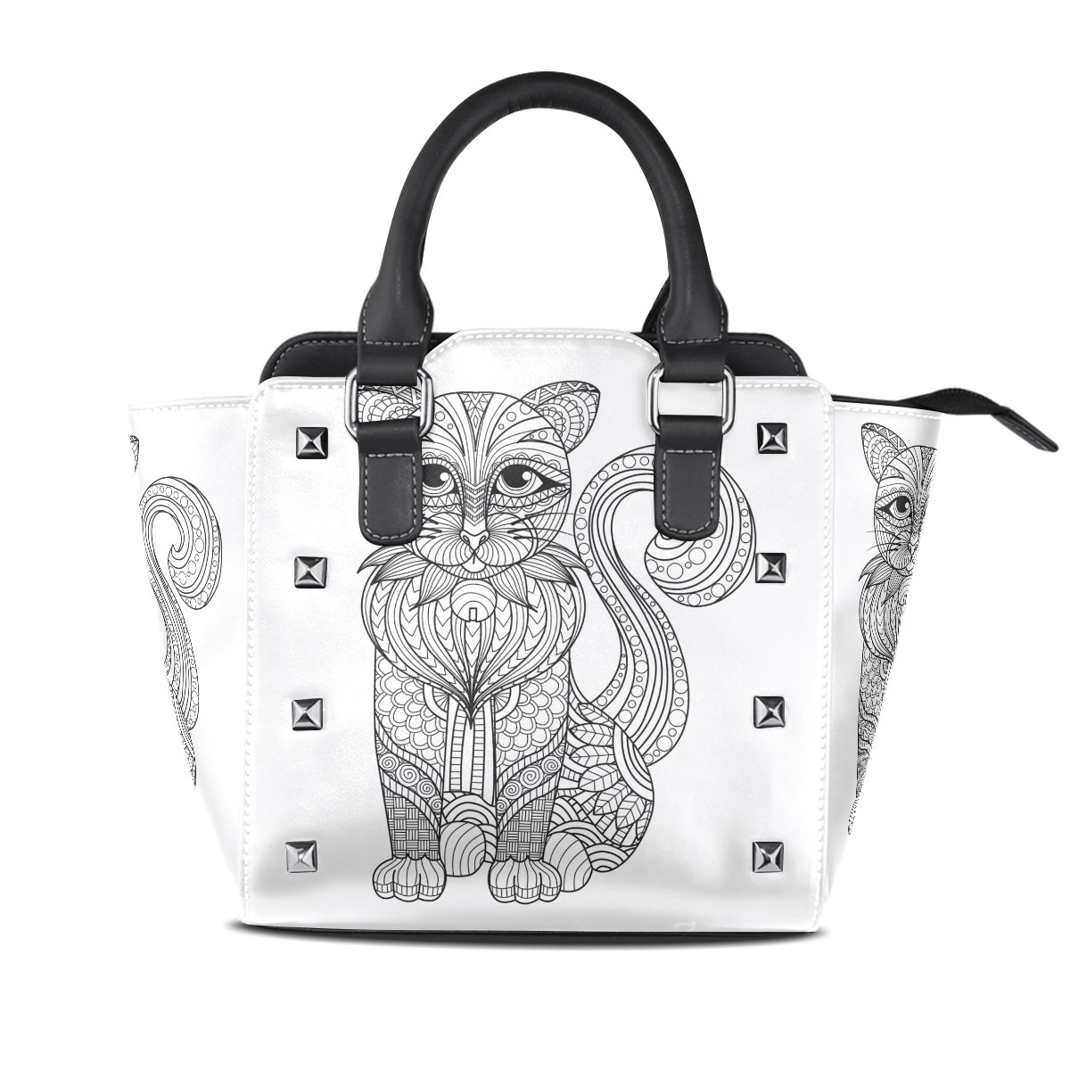 Womens Genuine Leather Hangbags Tote Bags Line Art Cat Purse Shoulder Bags