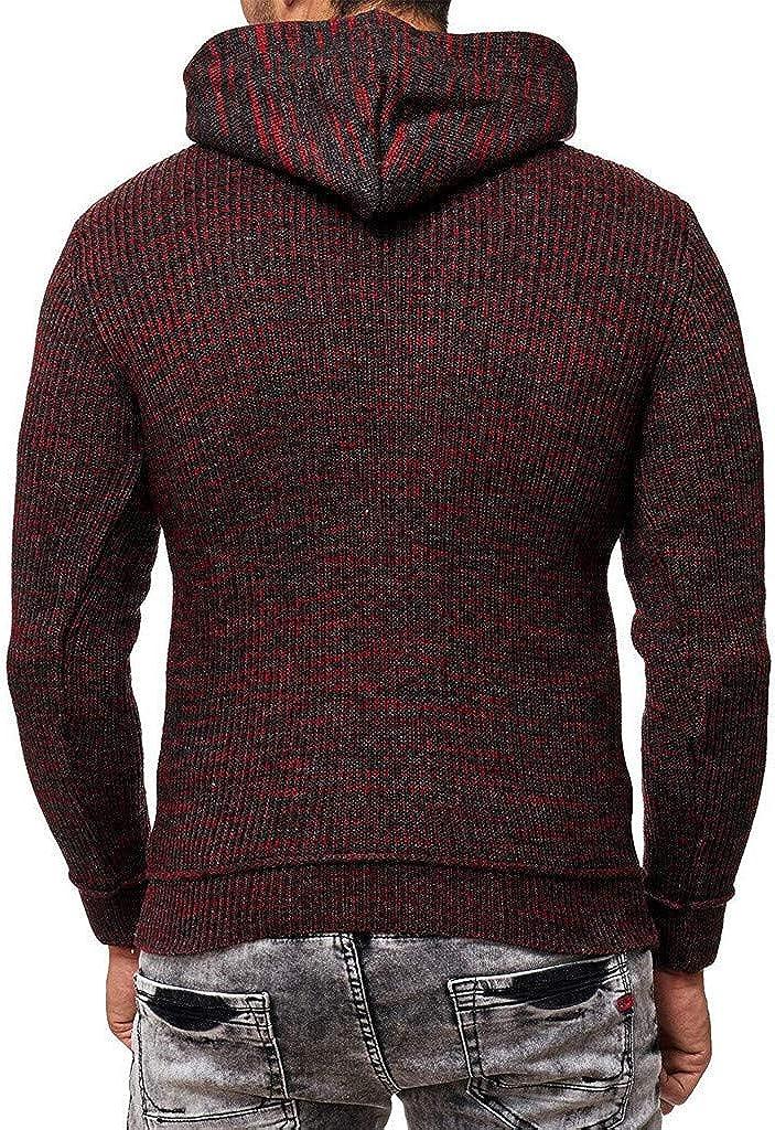 F/_Gotal Mens Hoodies Zip Lightweight Long Sleeve Drape Choker Knitted Sweater Hooded Pullover Sweatshirts Outwear Coats