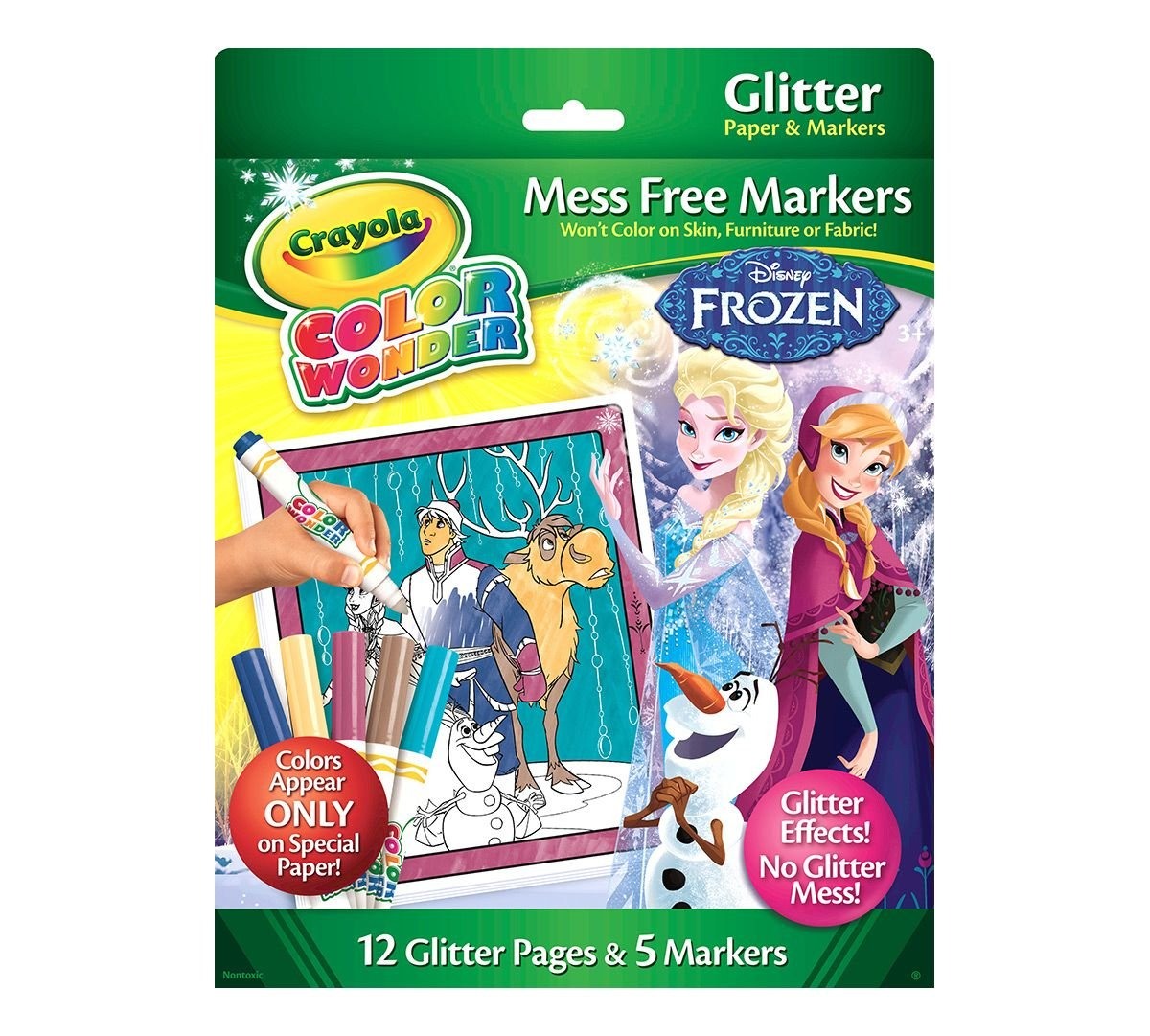 Crayola Color Wonder Glitter Paper & Markers, Disney Frozen (75-2409)