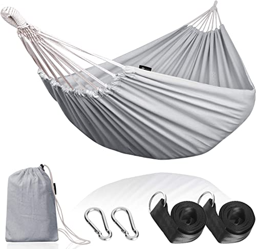 Anyoo Single Cotton Outdoor Hammock Multiples Load Capacity Up to 450 Lbs Portable