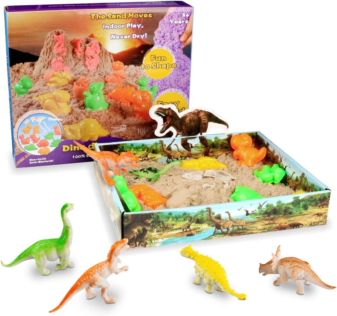 Weeygo Arena Mágica - Magic Sand Dinosaurio Cinética Animal Moldes Juego - Manualidades con 500g Arena Play Sand, Art Playset Regalo para Niños