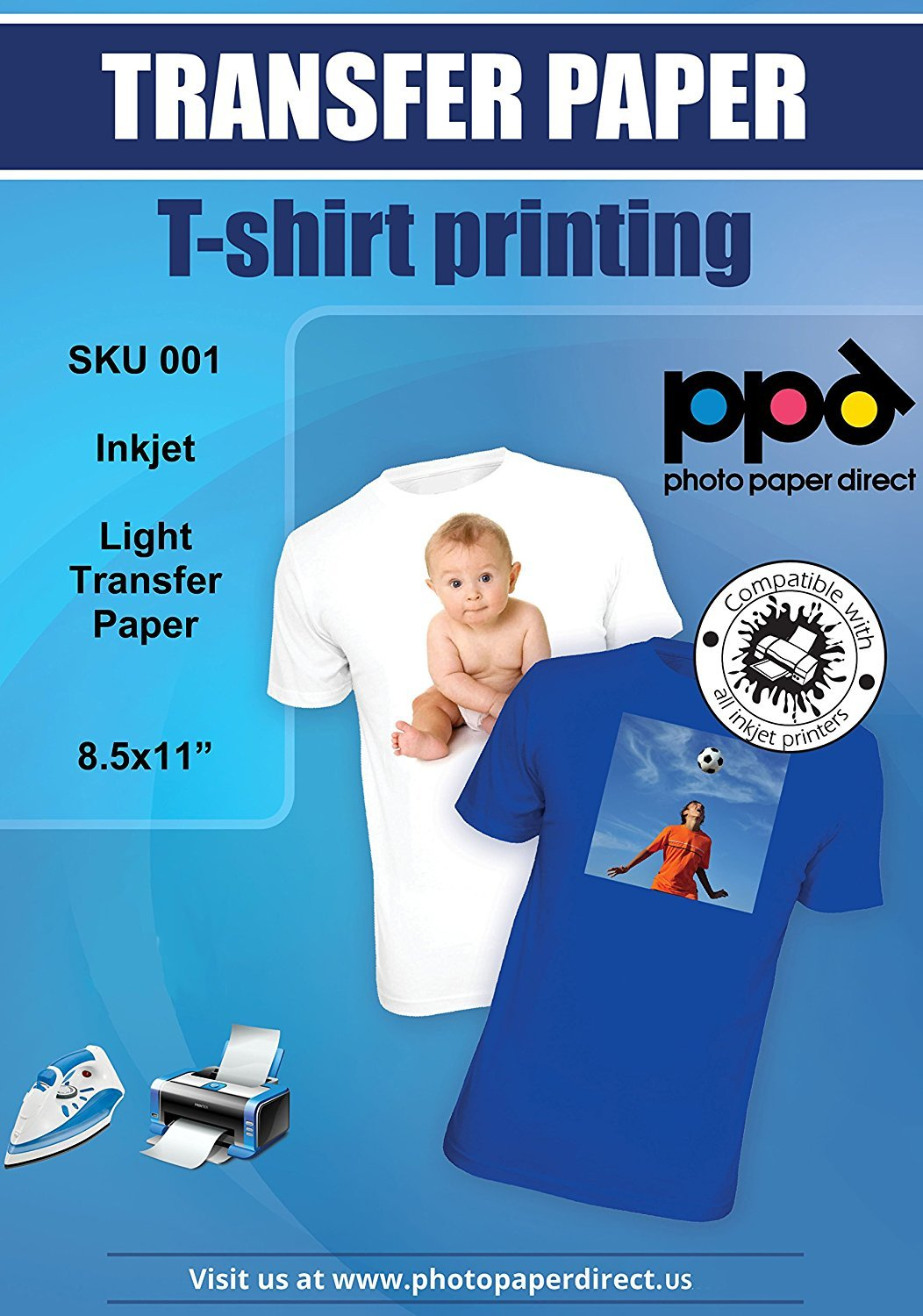 """PPD Inkjet Iron-On Light T Shirt Transfers Paper LTR 8.5x11"""" pack of 10 Sheets (PPD001-10)"""