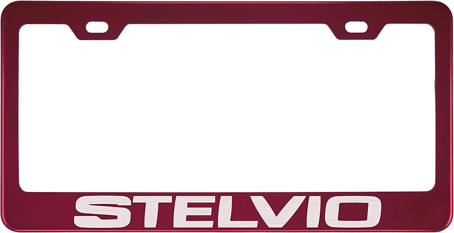 Fit Alfa Romeo Stelvio Stainless Steel Red License Plate Frame (Powder Coasted Color)