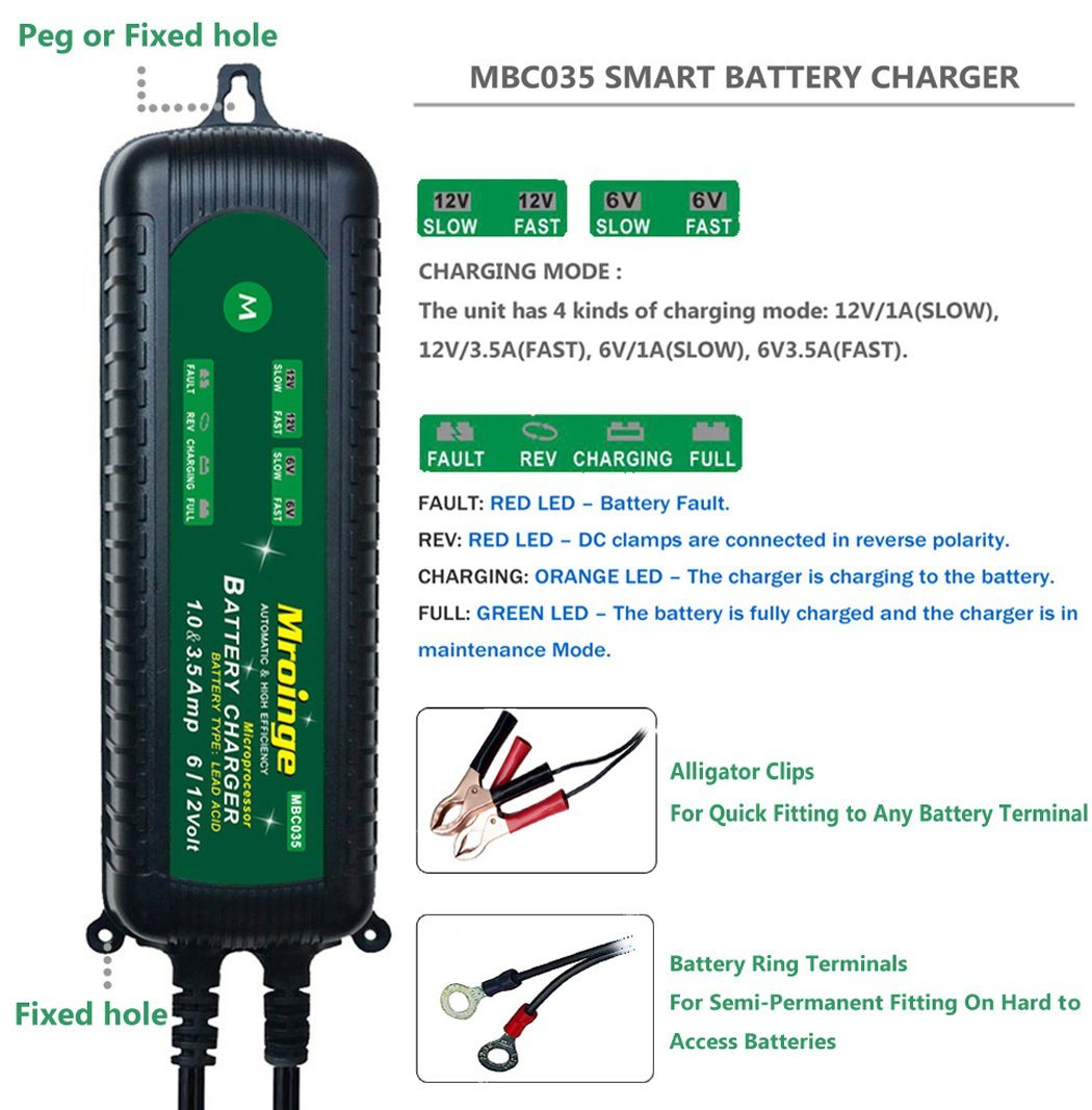 Mroinge Mbc035 6v And 12v 35a Smart Vehicle Battery Ups Circuit Diagram Automatic Charger Maintainer For Cars Motorcycles Rvs Tvs Powersports Boat More Gel