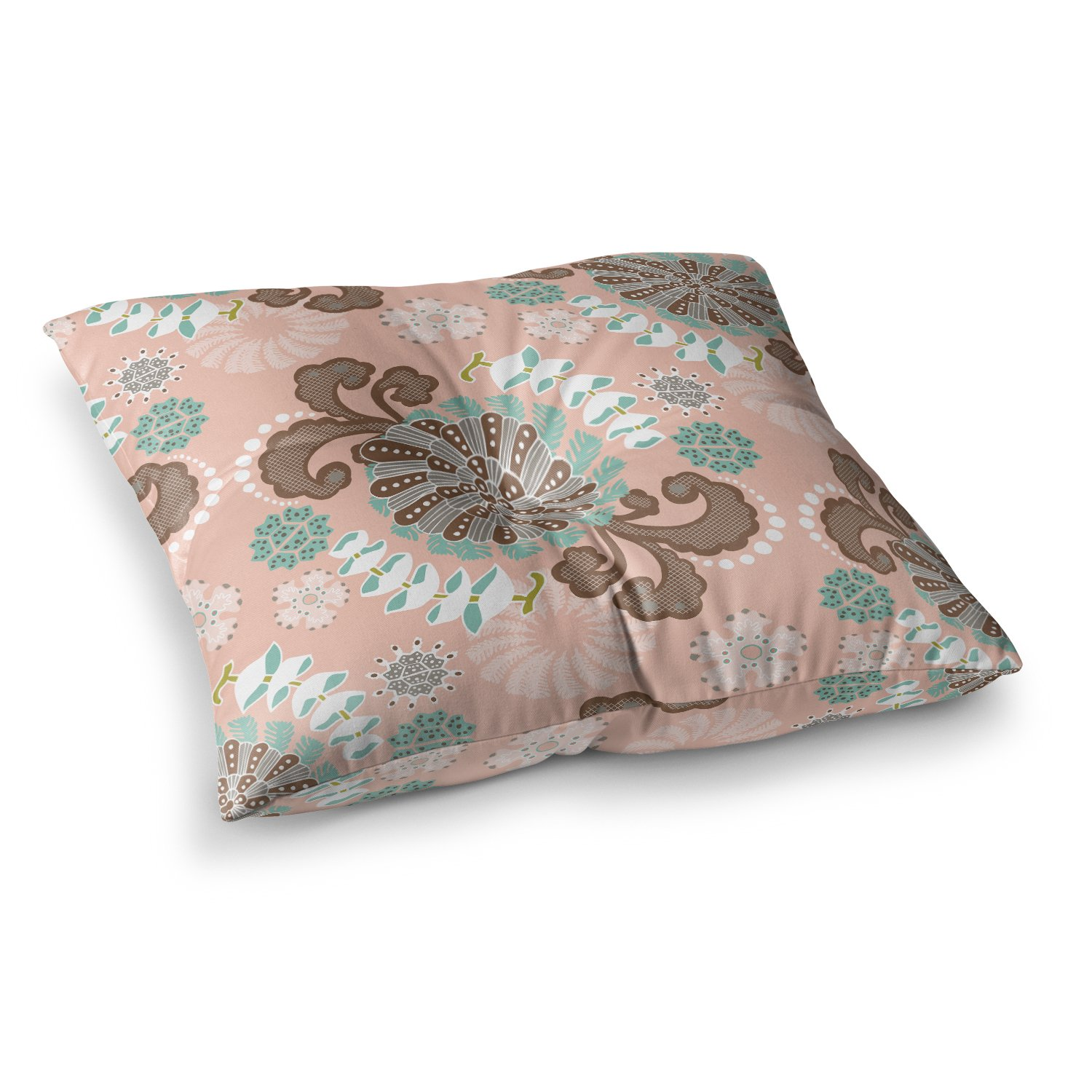 26 x 26 Square Floor Pillow Kess InHouse Sarie Sea Carnival Pink Teal