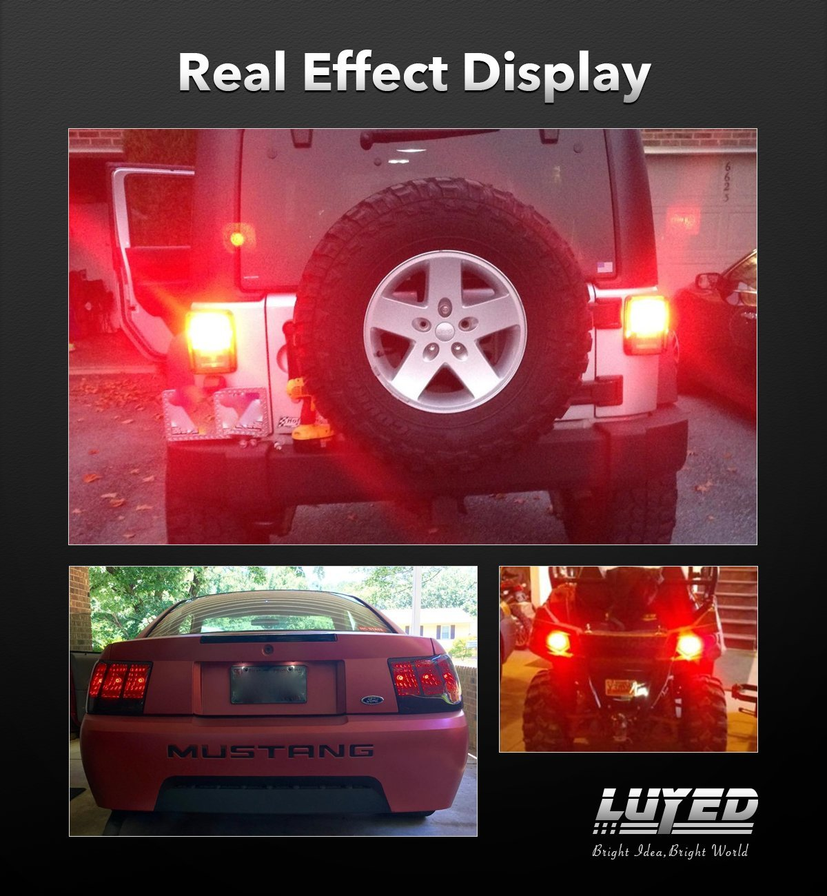 Non-polarity!LUYED 2 X 900 Lumens Super Bright 3014 78-EX Chipsets 3156 3157 3057 4157 LED Bulbs Used for Brake Lights,Tail Lights,Red