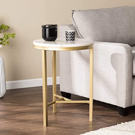 Round Marble Table – Geometric Champagne Gold Frame – Real Stone Accent Table 18