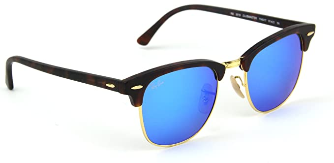 f38ec2a13e Ray-Ban RB3016 Clubmaster Flash Series Unisex Sunglasses (Sand Havana  Frame Blue Flash