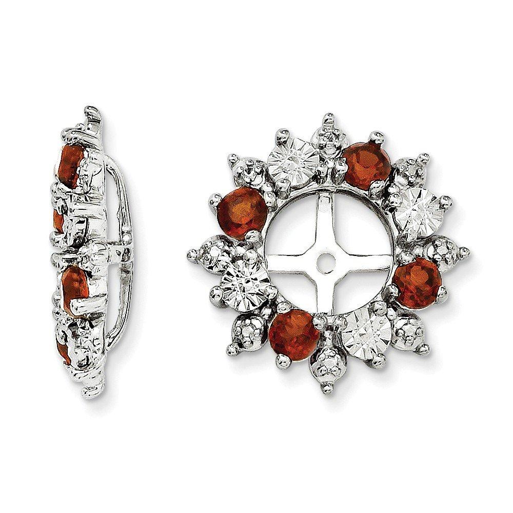 Sterling Silver Sparkle-Cut Rhodium-plated Garnet Earrings Jacket