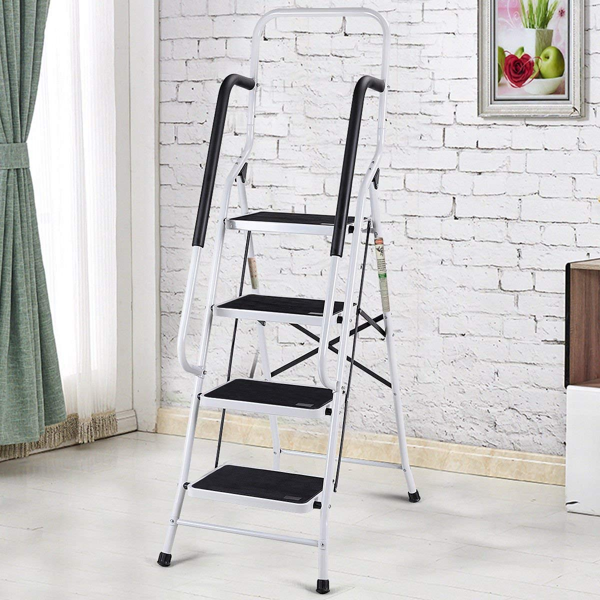 Giantex 2 in 1 Non-Slip Step Ladder Folding Stool w/Handrails and Tool Pouch Caddy (4 Step Ladder) by Giantex (Image #2)