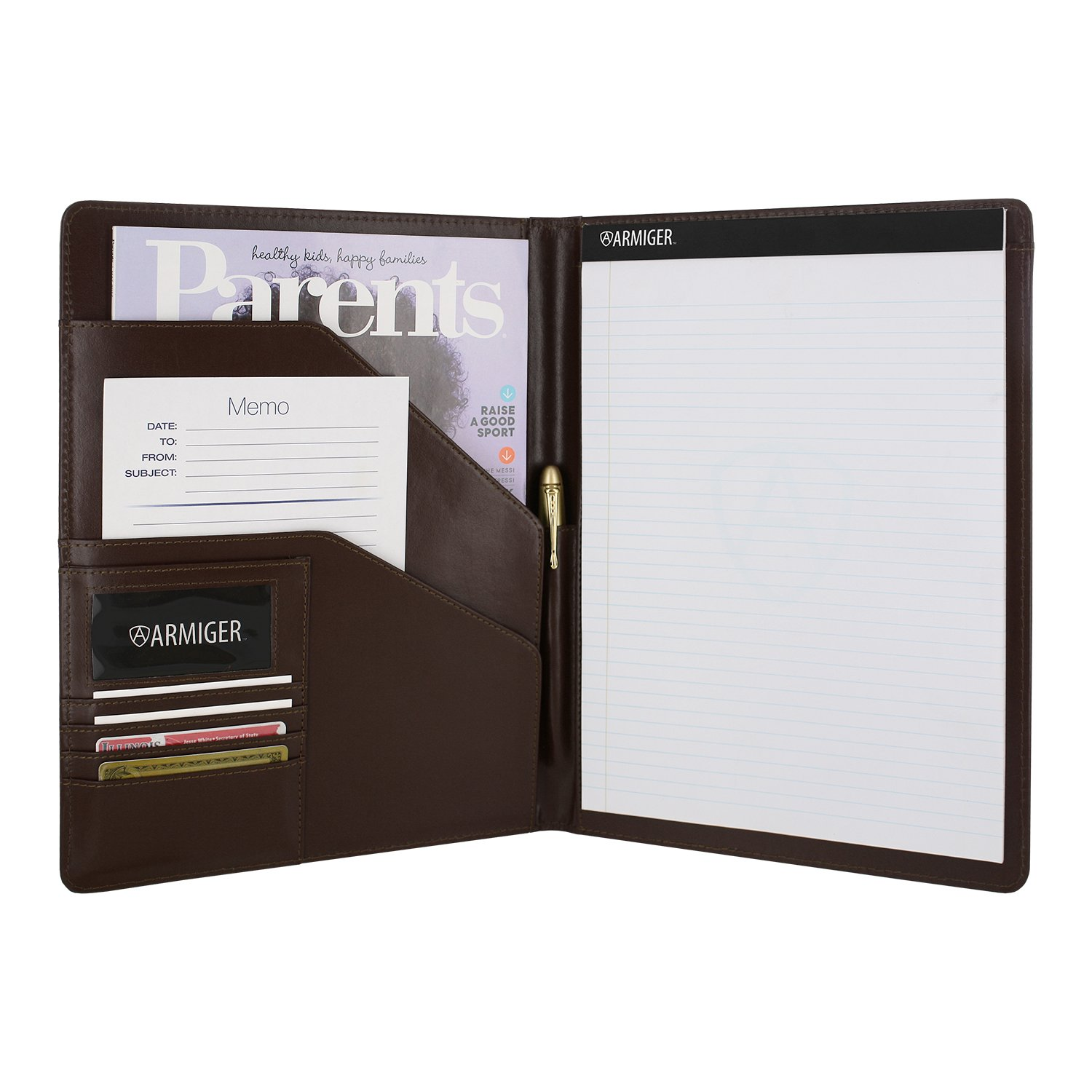 Armiger Executive Bonded Leather Professional Pad folio with Letter Size Notepad (Chestnut Brown)