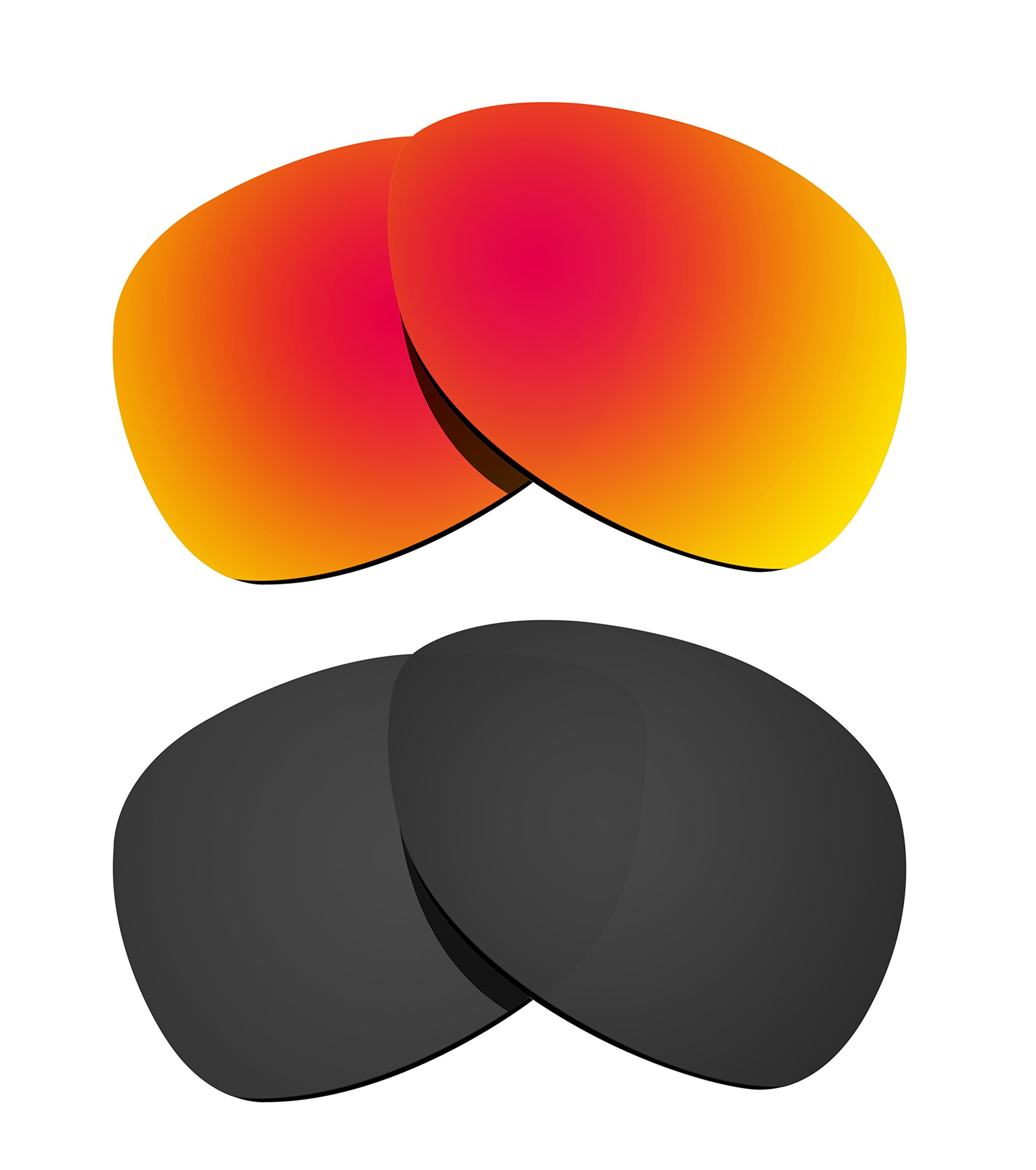 Littlebird4 2 Pairs 1.5mm Polarized Replacement Lenses for Oakley Crosshair Sunglasses - Multiple Options (Black+Fire Red)