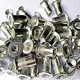 Veda total de 25xM4,25xM5,25xM6,25xM8 Lot de 100 vis écrous de rivets en aluminium avec Insert Rivnut Nutsert
