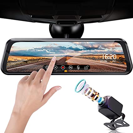 【2019 New Version】 Campark R10 Backup Camera 10 Mirror Dash Cam Video Streaming Rear View Mirror Dual-Lens 1080P Camera with Travelapse 24Hs Parking Monitor and GPS