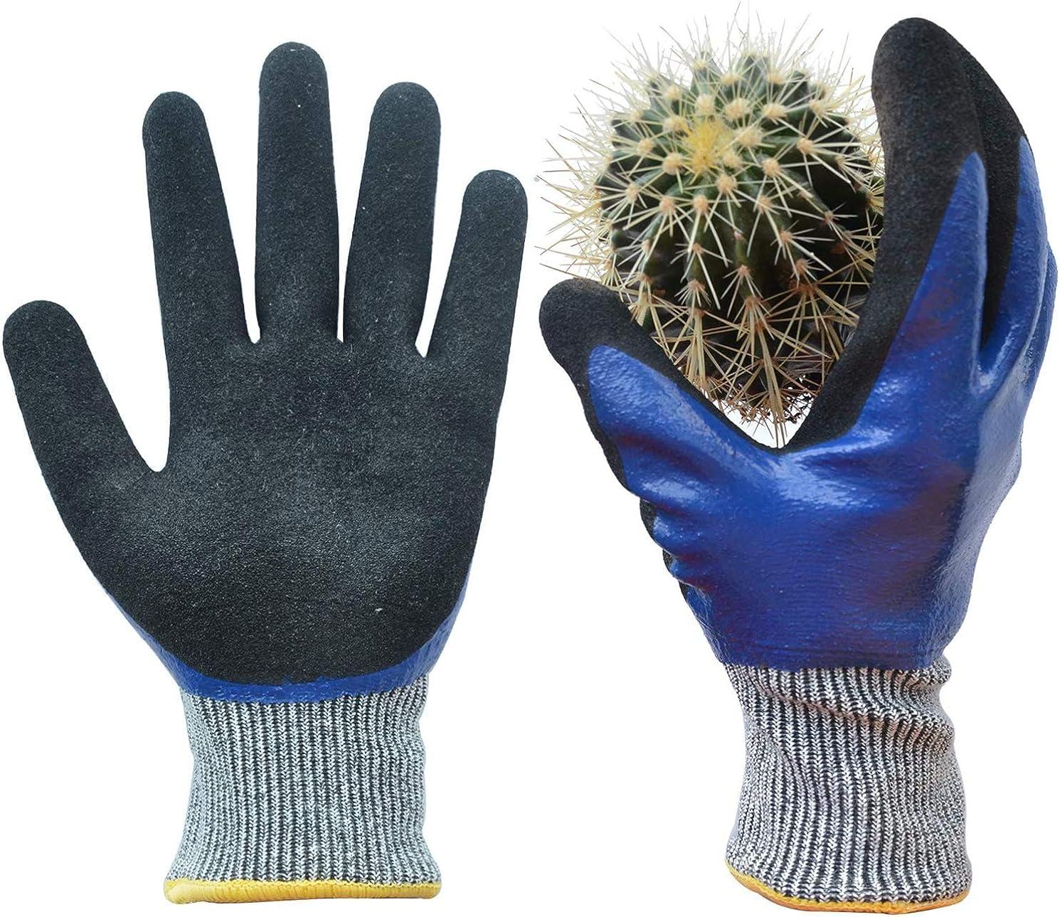 GLOSAV Durable Gardening Gloves, Heavy Duty Nitrile Garden Gloves, Double Coated