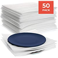 Premium Foam Packing Sheets (50 Count, 11 7/8 x 12 1/8 inches) Cushion Foam Wrap Sheets; Moving Supplies for Dishes, Glasses and Furniture; Packing Cushioning Supplies; Soft and Durable