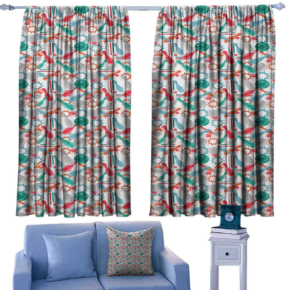 ParadiseDecor Bowling Nursery/Baby Care Curtains Abstract Colorful Design Elements with Color Splashes and Lines on White Backdrop,Indo Treatment Panes,W52 x L95 Inch by ParadiseDecor
