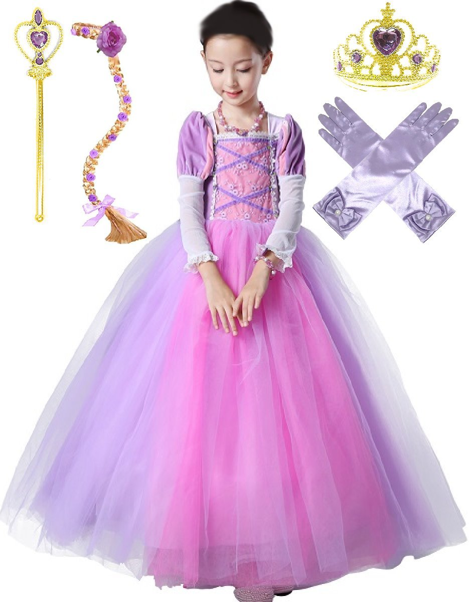 Romy's Collection Princess Rapunzel Party Deluxe Costume Dress-Up Set (4-5, Purple)