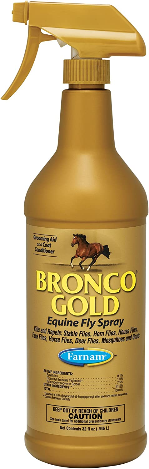 Farnam Bronco Gold Equine Fly Spray; Kills and Repels Stable Flies, Horn Flies, House Flies, Face Flies, Horse Flies, Deer Flies,Mosquitoes and Gnats; Grooming Aid and Coat Conditioner; 32 Ounce