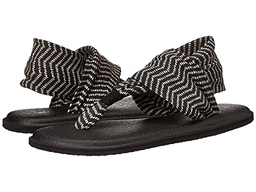 Sanuk Womens Yoga Sling 2 Flip Flop Black/Natural Congo 8 ...