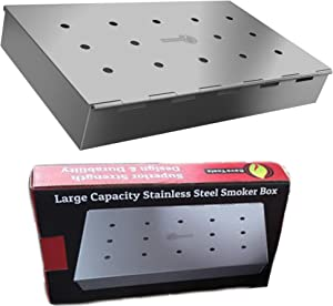 Smoker Box Maximum Wood Chip Capacity - 25% Thicker Stainless Steel Won't Warp - Charcoal & Gas Grill BBQ Meat Smoking Hinged Lid - Best Grilling Accessories & Barbecue Utensils For Dad