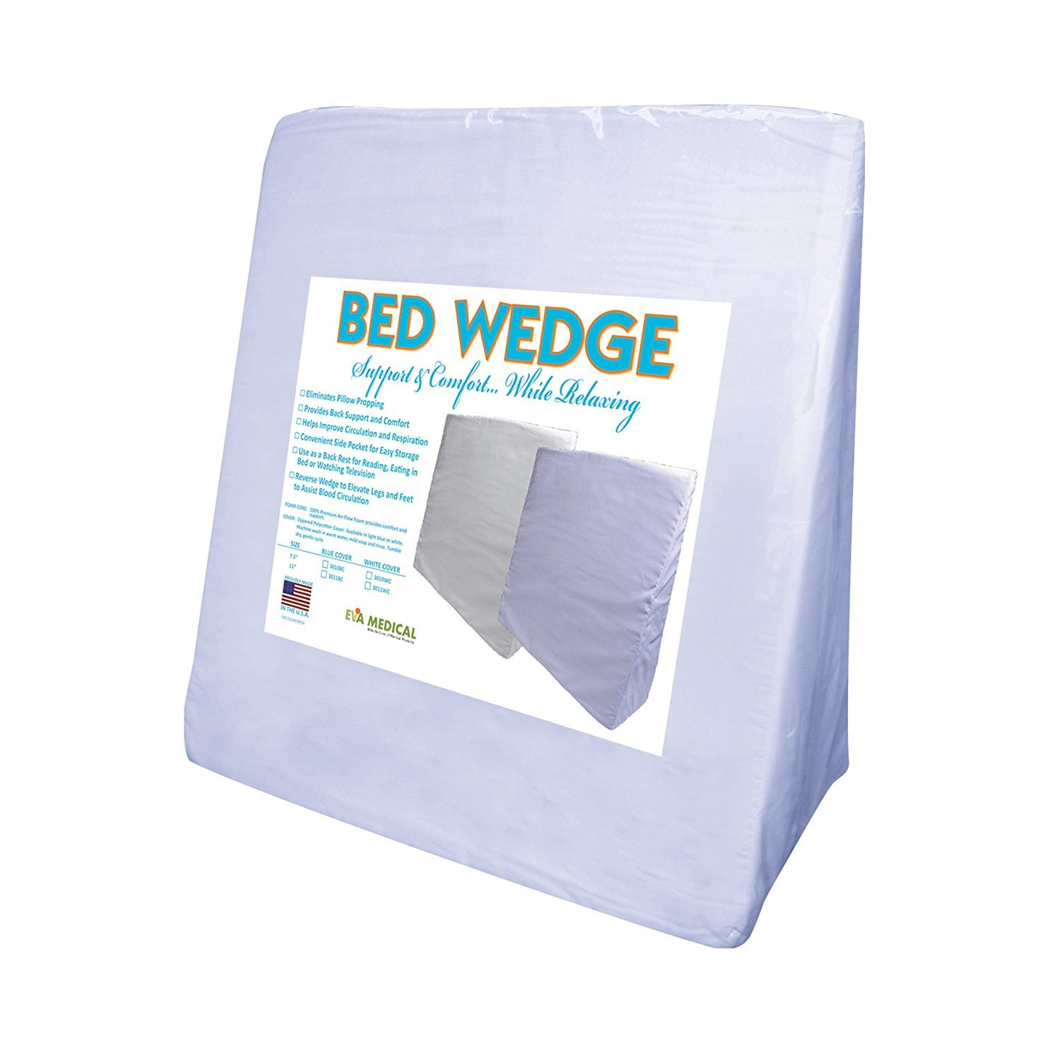 Bed wedge bed bath and beyond - Amazon Com Eva Medical Wedge Bed Pillow 22 X 22 X 7 5 With Blue Pillow Cover Made In Usa Health Personal Care