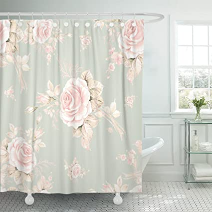 TOMPOP Shower Curtain Watercolor Roses In Bud Q Beautiful Pattern Design  Trendy Exquisite Of Sketches The