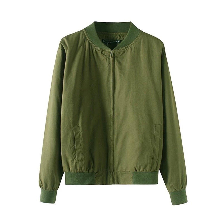 Amazon.com: Solme New Spring Autumn Flight Army Green Women Basic Jacket WomenS Coat Clothes Bomber Ladies Zipper Chaquetas Bomber Jacket Shallow Army ...