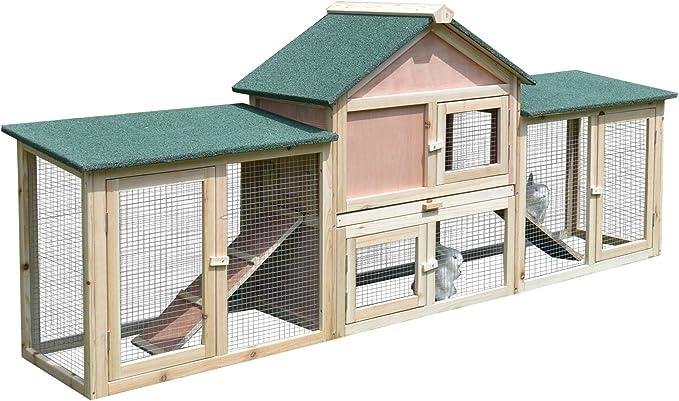 Pawhut Conejera de Exterior Grande Gallinero Pajarera Granja Casa para Animales Pequeños Jaula Mascota Conejos Gallinero 210x45.5x84.5cm