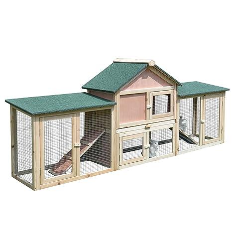 PawHut Conejera de Exterior Grande Gallinero Pajarera Granja Casa para Animales Pequeños Jaula Mascota Conejos Gallinero